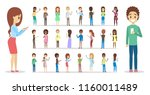 set of cute people using mobile ... | Shutterstock .eps vector #1160011489
