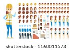 cute female builder character... | Shutterstock .eps vector #1160011573