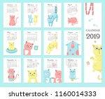 2019 yearly calendar vector... | Shutterstock .eps vector #1160014333
