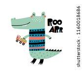 cute alligator. cartoon... | Shutterstock .eps vector #1160018686