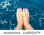 barefoot woman by the sea | Shutterstock . vector #1160025379