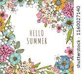 summer card. flowers  leaves.... | Shutterstock .eps vector #1160027140