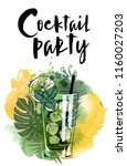 cocktail party. watercolor...   Shutterstock .eps vector #1160027203