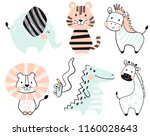 Stock vector crocodile elephant tiger zebra lion giraffe snake baby cute print set sweet zoo cool 1160028643