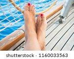 female feet on sailboat  summer ... | Shutterstock . vector #1160033563