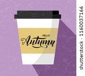 hello autumn lettering text on... | Shutterstock .eps vector #1160037166