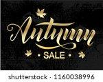 autumn sale golden lettering... | Shutterstock .eps vector #1160038996