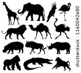 african animals silhouettes set.... | Shutterstock .eps vector #1160042680