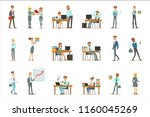 happy office workers and... | Shutterstock .eps vector #1160045269
