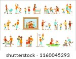 happy family doing things... | Shutterstock .eps vector #1160045293