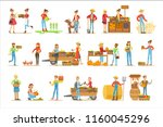 farmers men and women working... | Shutterstock .eps vector #1160045296