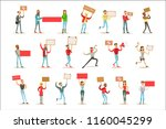 people marching in protest with ... | Shutterstock .eps vector #1160045299