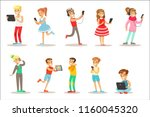 children and gadgets set of... | Shutterstock .eps vector #1160045320