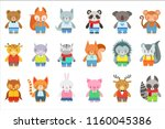 toy kids animals in clothes...   Shutterstock .eps vector #1160045386