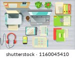 modern office desk elements set ... | Shutterstock .eps vector #1160045410