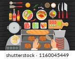 grill restaurant cooking table... | Shutterstock .eps vector #1160045449