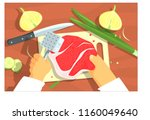 cooking of steak bright color... | Shutterstock .eps vector #1160049640