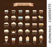 types of coffee vector... | Shutterstock .eps vector #1160056570