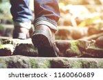 traveler tourist close up leg... | Shutterstock . vector #1160060689