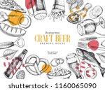 hand drawn oktoberfest pub... | Shutterstock .eps vector #1160065090