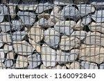 close up view of a steel gabion ... | Shutterstock . vector #1160092840