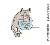 disobedient cat trying to catch ... | Shutterstock .eps vector #1160094016