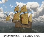 portuguese caravel of the... | Shutterstock . vector #1160094703
