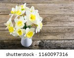 white daffodils at china vase... | Shutterstock . vector #1160097316