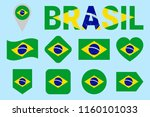 brazil flag collection. vector... | Shutterstock .eps vector #1160101033
