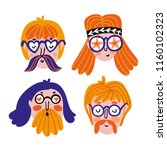 funny set of cute hippies... | Shutterstock .eps vector #1160102323
