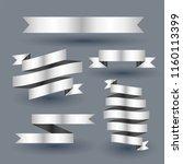 shiny silver ribbon banner set | Shutterstock .eps vector #1160113399