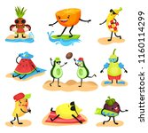 tropical humanized fruit... | Shutterstock .eps vector #1160114299