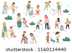 volunteers gathering garbage... | Shutterstock .eps vector #1160114440