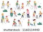 volunteers gathering garbage... | Shutterstock .eps vector #1160114440