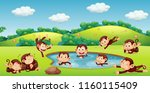 monkey playing in nature... | Shutterstock .eps vector #1160115409
