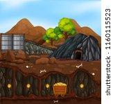 a gold mine landscape... | Shutterstock .eps vector #1160115523