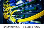 close up fiber optic in server... | Shutterstock . vector #1160117209