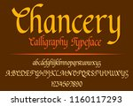 typeface calligraphy  chancery... | Shutterstock .eps vector #1160117293