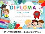 certificates kindergarten and... | Shutterstock .eps vector #1160124433