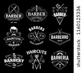 barber shop retro emblems in... | Shutterstock .eps vector #1160125336