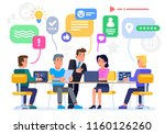 businessmen discuss social... | Shutterstock .eps vector #1160126260