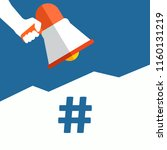 hashtag icon announcement. hand ... | Shutterstock .eps vector #1160131219