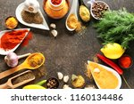 frame made of different spices... | Shutterstock . vector #1160134486
