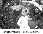 happy girl dance to music in...   Shutterstock . vector #1160135893