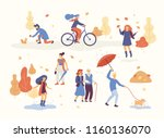 people in the autumn park... | Shutterstock .eps vector #1160136070
