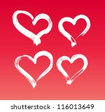 vector hand painted hearts...