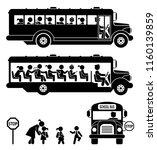 school bus. school children.... | Shutterstock .eps vector #1160139859