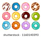 set of cartoon colorful donuts... | Shutterstock .eps vector #1160140393