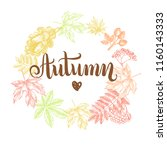autumn background. wreath with... | Shutterstock .eps vector #1160143333