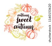 autumn background. wreath with... | Shutterstock .eps vector #1160153620